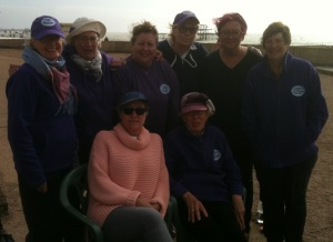 Founding members of Women's Boules and Cake Morning Section (Back L) Trish Taylor, Ann Wordsworth, Di Cherrie, Pat Connolly, Nick Rowlands, Di Vincent (Front L) Gaby Channing, Jill Gebbett