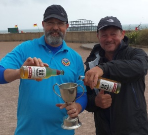 Sussex Petanque Over-50s Champions (L) Tony Mann and Jeff Mitchell (with Jeff's own new cider brand)