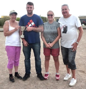 SXP Mixed Doubles Finalists (L) Lynn Andrews, Matt Shrimpton (Champions),  Gaby Channing, Terry Gibbons (Runners-up)